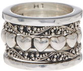 Lois Hill Sterling Silver Heart Stacking Rings - Size 5.5