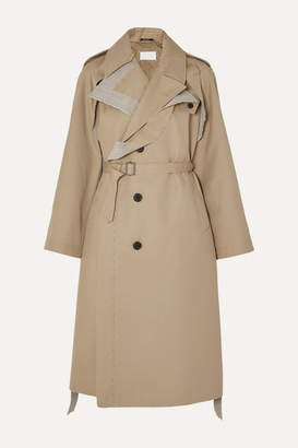 Maison Margiela Belted Cotton Canvas-trimmed Gabardine Trench Coat - Beige
