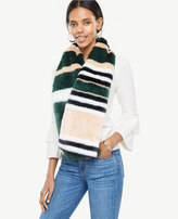 Ann Taylor Striped Faux Fur Stole