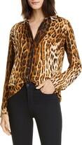 L'Agence Nina Leopard Print Silk Blouse