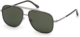 Tom Ford Men's Ruthenium Metal Aviator Sunglasses