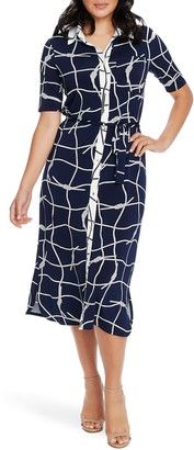 Chaus Nautical Ropes Tie Waist Shirtdress