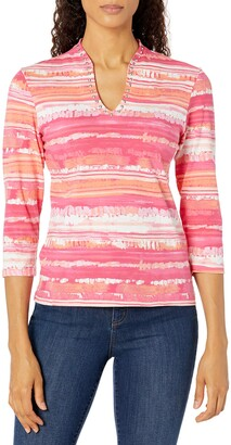 Ruby Rd. Women's Petite Embellished Brush Striped Top