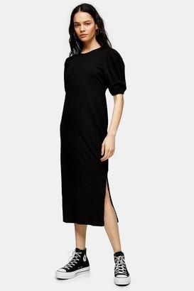 Topshop Womens Black Open Back Midi T-Shirt Dress - Black