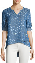 Neiman Marcus Tab-Sleeve Split-Neck Chambray Top, Blue Pattern