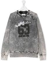 John Galliano TEEN bleach effect logo sweatshirt