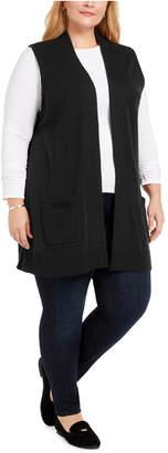 Karen Scott Plus Size Duster-Length Sweater Vest