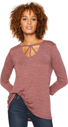 Democracy Women's 3/4 Sleeve V Cut Out Trapeze TOP