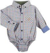 Andy & Evan Long-Sleeve Poplin Plaid ShirtzieTM, Orange/Multicolor, Size 3-24 Months
