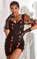 PrettyLittleThing Black Heart Embroidered Mesh Short Sleeve Bodycon Dress