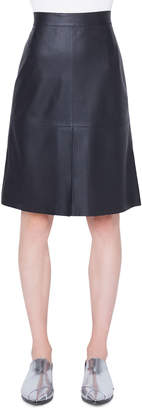 Akris Punto Knee-Length Perforated Leather Skirt