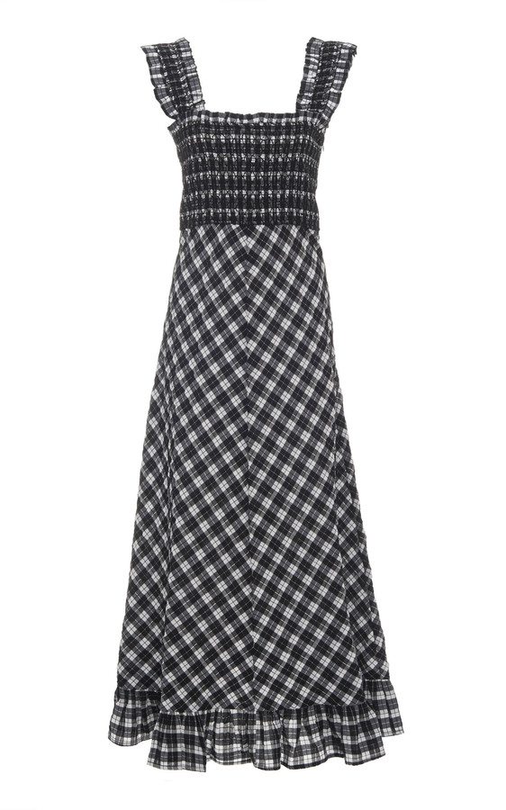 Ganni Smocked Checked Seersucker Midi Dress Shopstyle