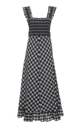 Ganni Smocked Checked Seersucker Midi Dress