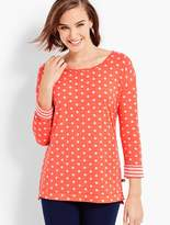 Talbots Dots & Stripes Double-Knit Pullover