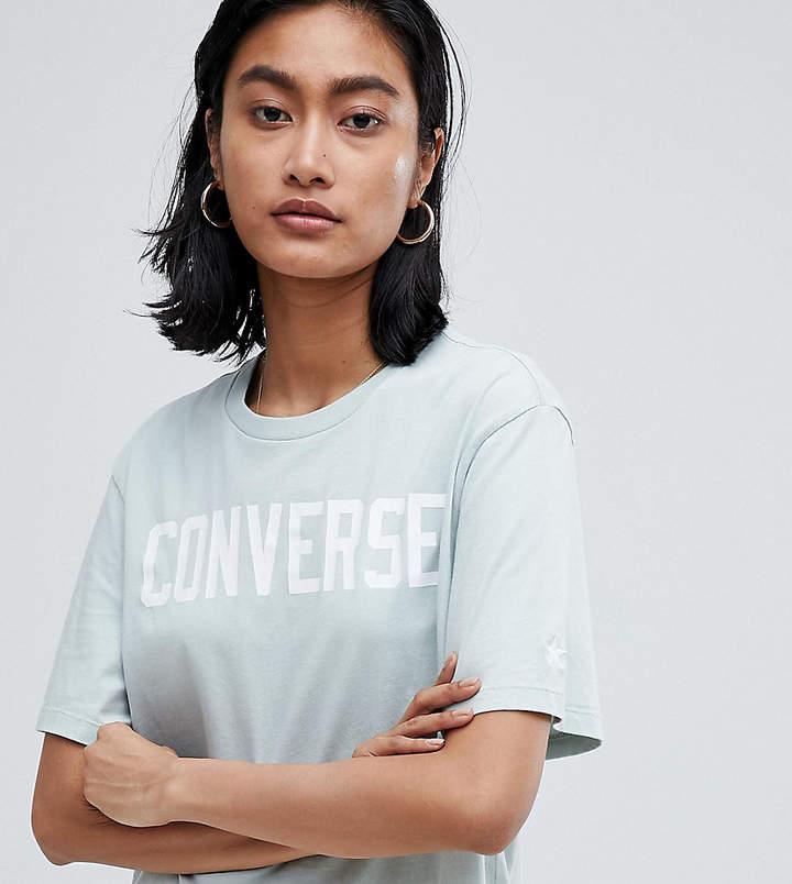 Converse (コンバース) - Converse Premium Essentials Logo Tshirt In Pale Blue