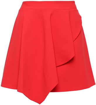 Alice + Olivia Nicky Asymmetric Draped Crepe Mini Skirt