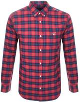 Gant Brushed Oxford Plaid Check Shirt Red