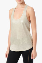 7 For All Mankind Colorblock Shimmer Tank In Champagne