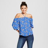 3Hearts Women's Paisley Cross Front Off the Shoulder Top - 3Hearts (Juniors') Blue