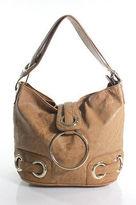 Big Buddha Brown Leather Zipper Top Single Strap Shoulder Handbag