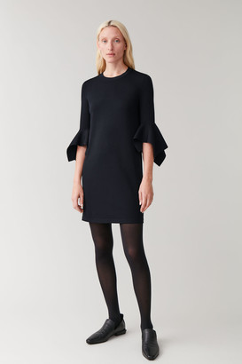 Cos Knitted Dress With Draped Sleeves