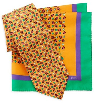 Etro 2-Piece Silk Tie Pocket Square Box Set