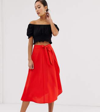 Monki wrap front midi skirt in red