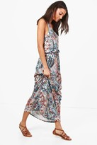 Boohoo Tall Elise Paisley Print Twisted Maxi Dress