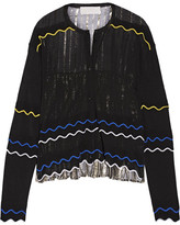 Peter Pilotto Paneled Stretch-knit And Pleated Silk-blend Lamé Cardigan - Black