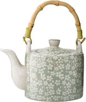 Bloomingville - Green Ceramic Bamboo Handle Teapot - ceramic | green | bamboo - Green/Green