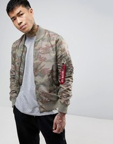 Alpha Industries Ma1-tt Bomber Jacket Slim Fit In Green Camo