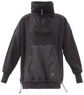adidas by Stella McCartney High-neck Drawcord-hem Fleece Sweatshirt - Black