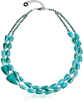 Antica Murrina Veneziana Marina 1 Double - Turquoise Green Murano Glass and Silver Leaf Necklace