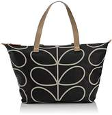 Orla Kiely Core Linear Zip Shopper Shoulder Bag, Black/Cream