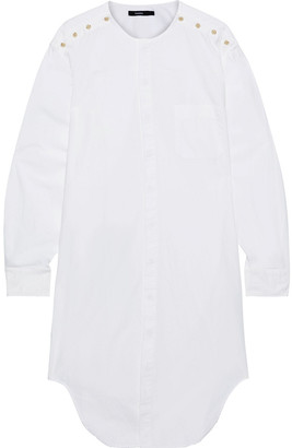 Bassike Button-detailed Cutout Cotton-poplin Shirt Dress
