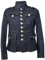 DSQUARED2 Blue Denim Jacket Livery Glam Military Style