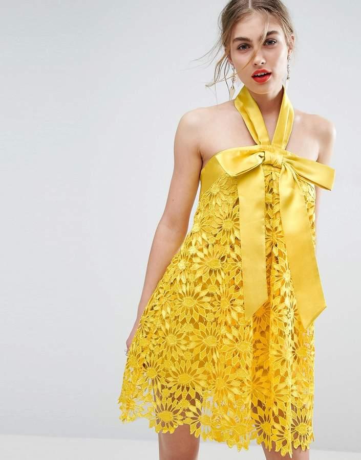 Asos Design SALON Aline Lace Mini Dress with Bow Detail