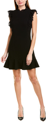 Rebecca Taylor Crepe Lace Shift Dress