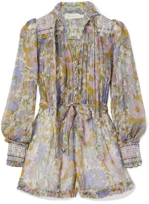 Zimmermann Super Eight Smocked Ruffled Floral-print Silk-chiffon Playsuit