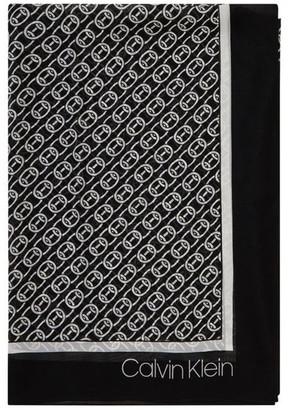 Calvin Klein A0WS5999 Chain Print Chiffon Square Scarf
