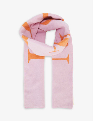Hades London-embroidered wool scarf