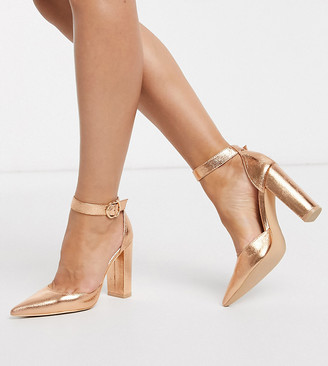 Glamorous Wide Fit block heeled shoe in rose gold