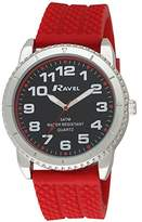 Ravel Men's 5ATM Quartz Watch with Black Dial Analogue Display and Red Silicone Strap R5-20.10G