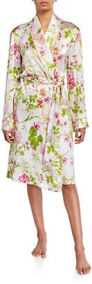 Paul Stuart Floral-Print Silk Robe