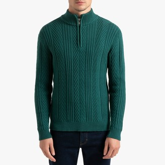 La Redoute Collections Zipped Collar Jumper in Detailed Chunky Knit