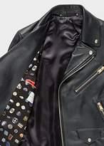 Paul Smith Men's Black Leather Asymmetric-Zip Biker Jacket