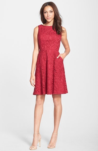 Adrianna Papell Lace Fit & Flare Dress