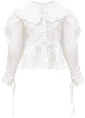 Horror Vacui Lisi Exaggerated-collar Ruffled Cotton Blouse - White
