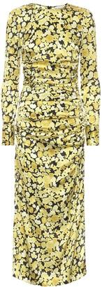 Ganni Floral stretch-silk satin midi dress