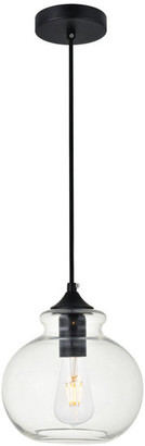 "Elegant Furniture & Lighting 7.9"" Retro Modern 1-Light Pendant With Clear Glass, Black"